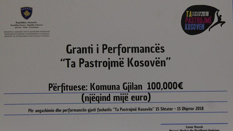 Gjilani fiton 100 mijë euro grant për fushën e pastërtisë