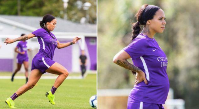 Futbollistja shtatzënë nuk i ndal stërvitjet