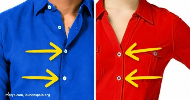 Pse pullat e këmishës së grave dhe burrave janë në anë të kundërta?