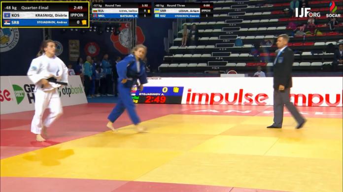 Distria Krasniqi kalon në finale, eliminon xhudistet serbe dhe turke