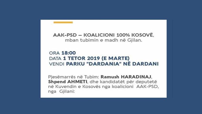 AAK-PSD – Njoftim për tubimin e madh në Gjilan