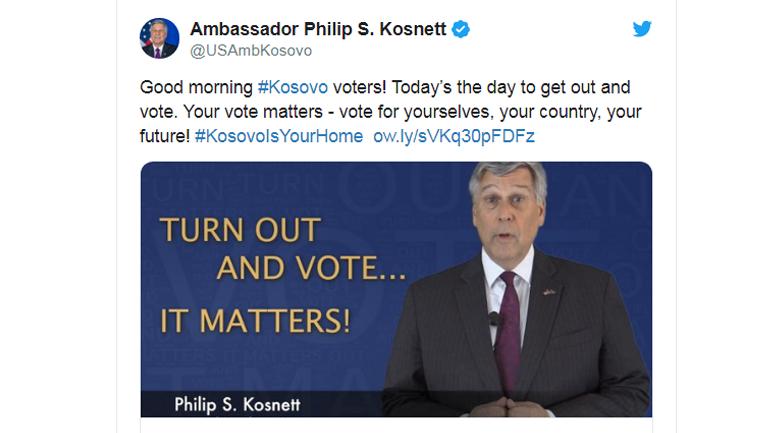 Ambasadori Kosnett: Votoni për veten, shtetin dhe të ardhmen