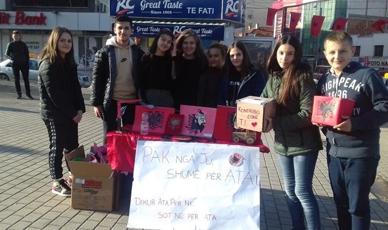 Nxënësit gjilanas organizojnë aksion për grumbullimin e mjeteve për Shqipërinë