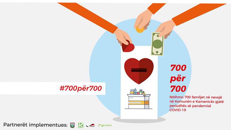 """Filloi fushata """"700 për 700"""", për të ndihmuar familjet në nevojë në Kamenicë gjatë periudhës së pandemisë COVID-19"""