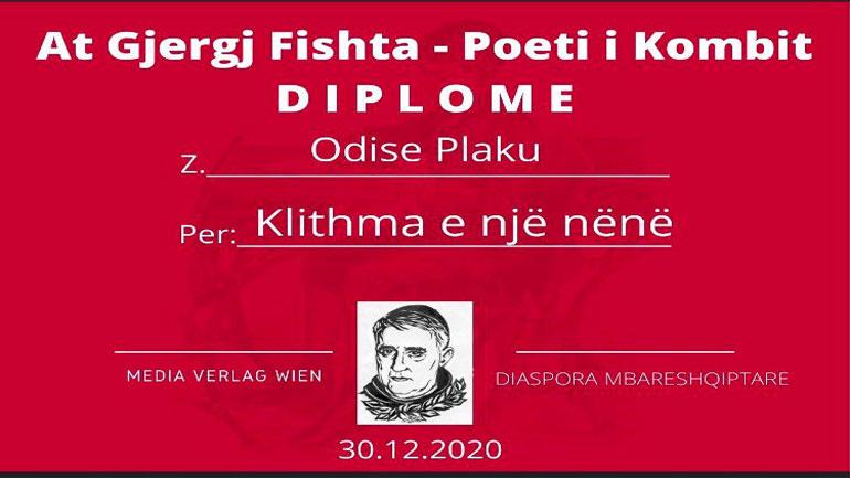 """Shkrimtari Odise Plaku fitues i diplomës """"At Gjergj Fishta-Poet i Kombit"""" për monodramën """"Klithma e një nëne të marrë"""""""