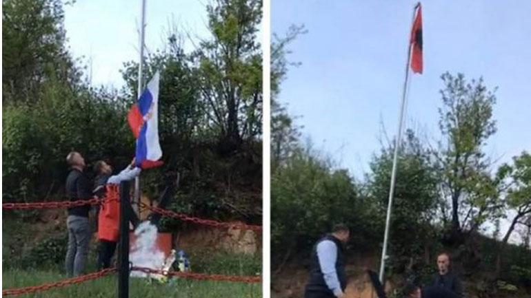 Largohet flamuri serb dhe rikthehet ai kombëtar te përmendorja e dëshmorit Fatmir Ibishi