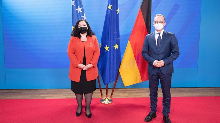 Presidentja Osmani takoi ministrin e Jashtëm të Gjermanisë, Heiko Maas