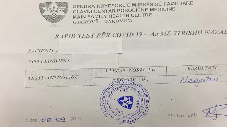 Tentuan të dalin nga Kosova me teste të falsifikuara të COVID-it, ndalohen nga Policia
